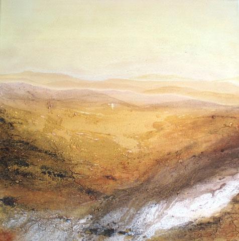 """""""WEITER HORIZONT"""" Zyklus Wüste, Mischtechnik/Leinen, 40 x 40 cm"""