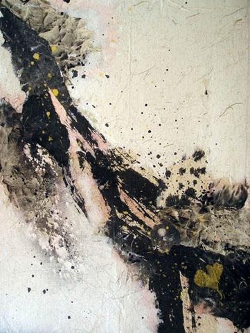 """LAND DES GINKYO BAUMES"" Reispapiercollage, 33 x 44 cm"