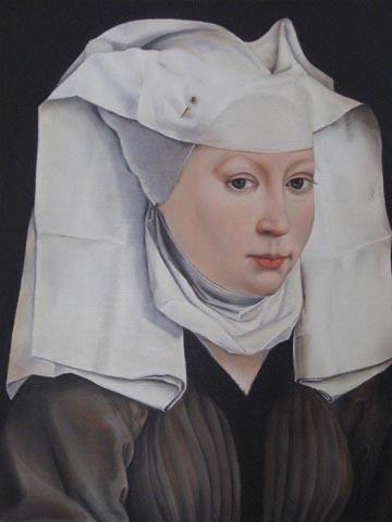"""""""BILDNIS EINER DAME"""" Nach Rogier van der Weyden, Öl / Leinen, 30 x 40 cm"""