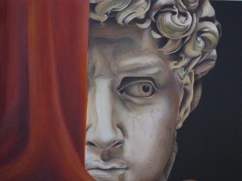"""""""DAVID"""" Nach Michelangelo, Öl / Leinen, 80 x 50 cm"""