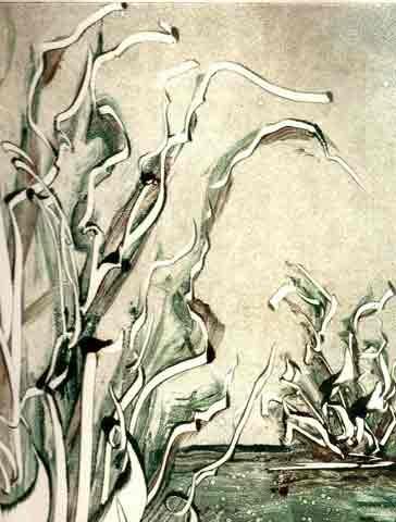 """BOTANISCHER URSPRUNG"" Monotypie, ca. 20 x 28 cm"