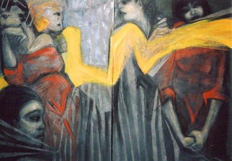 """GELBES BAND"" Doppelbild, Acryl / Leinen, 120 x 90 cm"