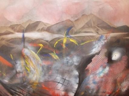 O.T. 1993, Acryl / Leinen, 124 x 88 cm